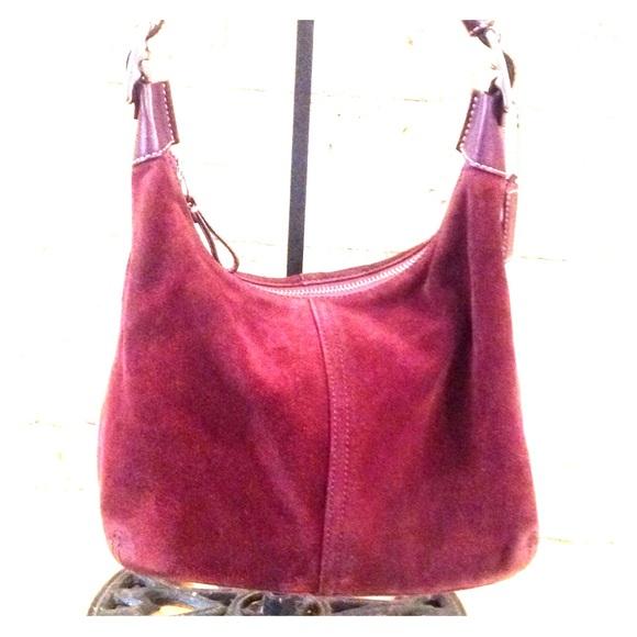 Coach Handbags - Coach F053-8E82 Eggplant Suede Satchel